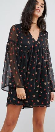 Smock Dress With Flare Sleeves