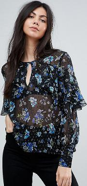 ruffle front floral blouson sleeve top