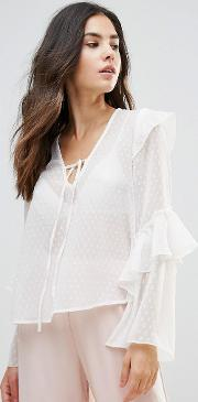 Tie Neck Top With Ruffle Sleeves