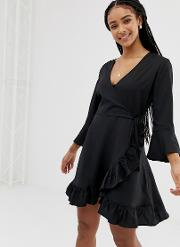Wrap Dress With Frill Detail