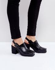 Black Honcho Leather Sling Back Heeled Shoes
