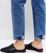 black titan leather flat mules