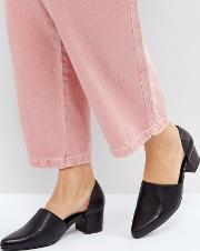 Perf Black Leather Cut Out Mid Heeled Shoes