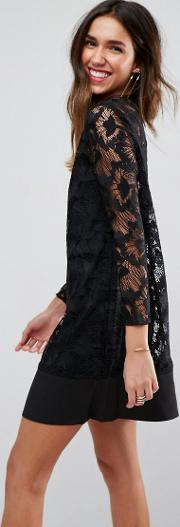 layback lace long sleeved cocktail dress