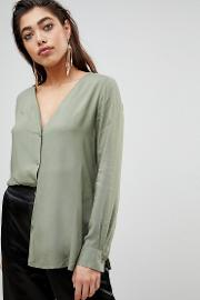 blouse with button front