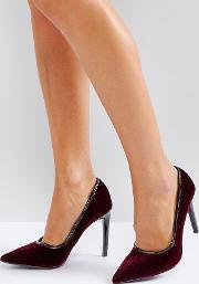 heeled velvet pointed court shoe with pu trim
