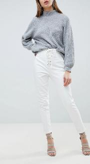 jean with lace up front