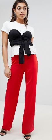 wide leg trousers with knot detail at waist