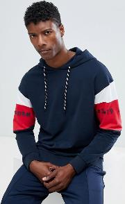 Core Hoodie With Arm Panel Stripe
