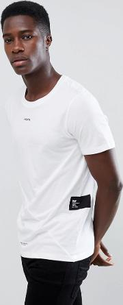 core long line t shirt with cut and sew panels  chest slogan