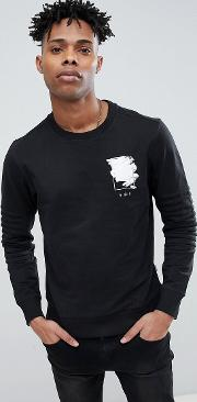Core Sweatshirt With Graphic And Ribbed Sleeve Detail