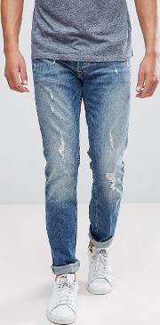 Intelligence Jeans  Slim Fit With Distress Detail