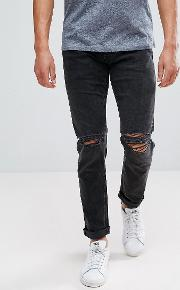Intelligence Jeans  Slim Fit With Rip Knee Detail