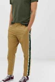 Intelligence Side Stripe Popper Leg Detail Chinos Sand