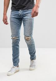 Intelligence Skinny Jeans  Mid Blue Wash With Knee Rips