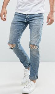 Intelligence Slim Fit Jeans  Light Blue Wash With Knee Rips
