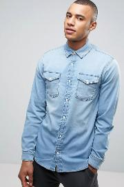 intelligence slim fit jersey denim shirt