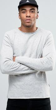 knitted crew with raw neck