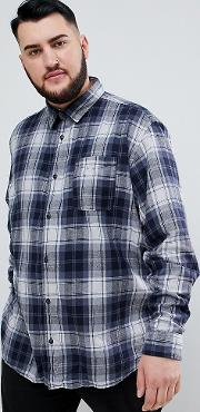 Originals Plus Size Brushed Check Shirt Slim Fit
