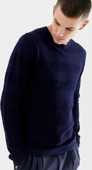 Premium Knitted Jumper With Mixed Jacquard Stripe Detail