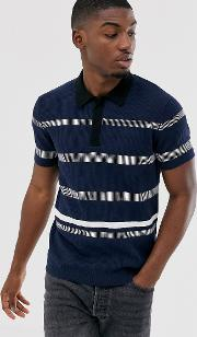 Premium Striped Knitted Polo