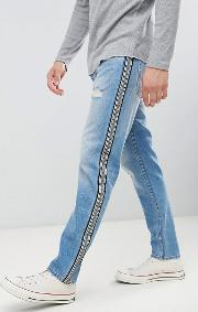 Side Stripe Tapered Jeans