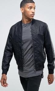 vintage faux leather bomber