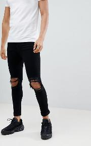 super skinny jeans with rips  black