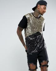 t shirt in black and gold sequin