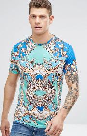 T Shirt In Blue With Baroque Print