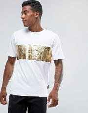 T Shirt In White With Gold Foil Panel