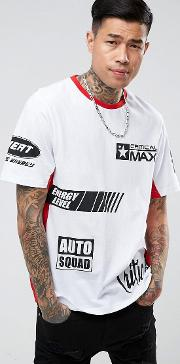 t shirt in white with racing print