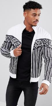 Track Jacket In White With Stripes And Chevron Print