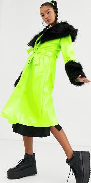 Trench Coat With Contrast Faux Fur Trims