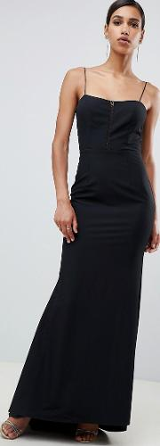 Cami Strap Fishtail Maxi Dress With Lace Insert