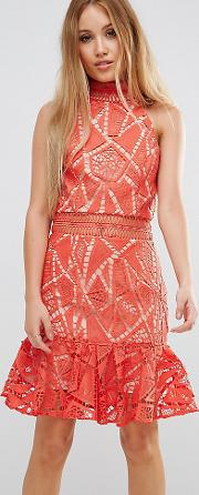 All Over Lace High Neck Mini Prom
