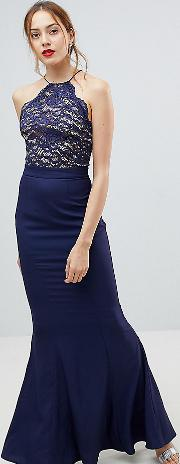 High Neck Lace Dress With Tie Back Detail