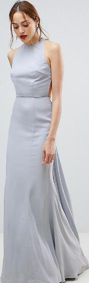 open back maxi dress with train detail