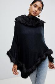 Faux Fur Trim Wool Blend Poncho