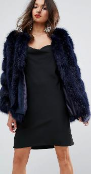 Luxurious Stripe Fur Jacket
