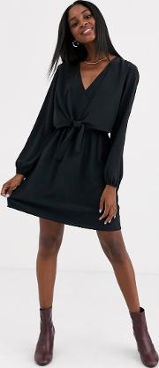 Mini Dress With Knot Front Detail Black