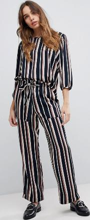 printed stripe belted trousers