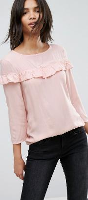 woven blouse with frill detail