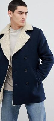 borg collar quilted navy wool blend coat