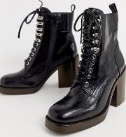Dotti Leather Lace Up Heel Boot