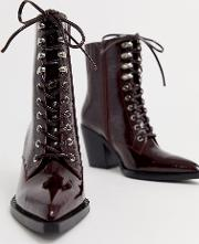 Elmace Lace Up Heel Leather Boot