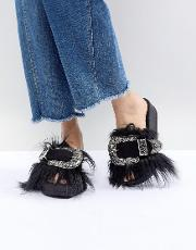 Furry Sliders With Oversized Western Buckle