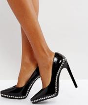 Gilma Black Studded Leather Court Shoes
