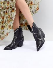 leather black studded western ankle boots