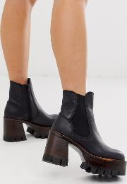 Leather Stacked Platform Chelsea Boot